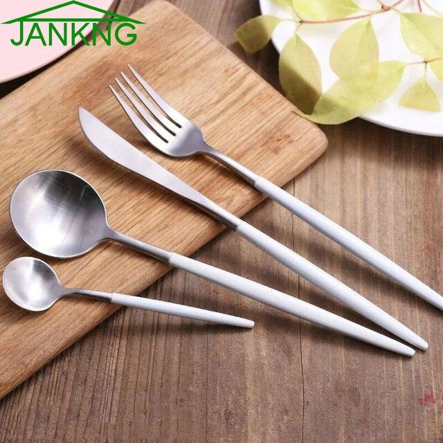 JANKNG 24 Pcs/Lot White Handle Silver Stainless Steel Dinnerware Set Luxury Cutlery Set Matte & JANKNG 24 Pcs/Lot White Handle Silver Stainless Steel Dinnerware Set ...