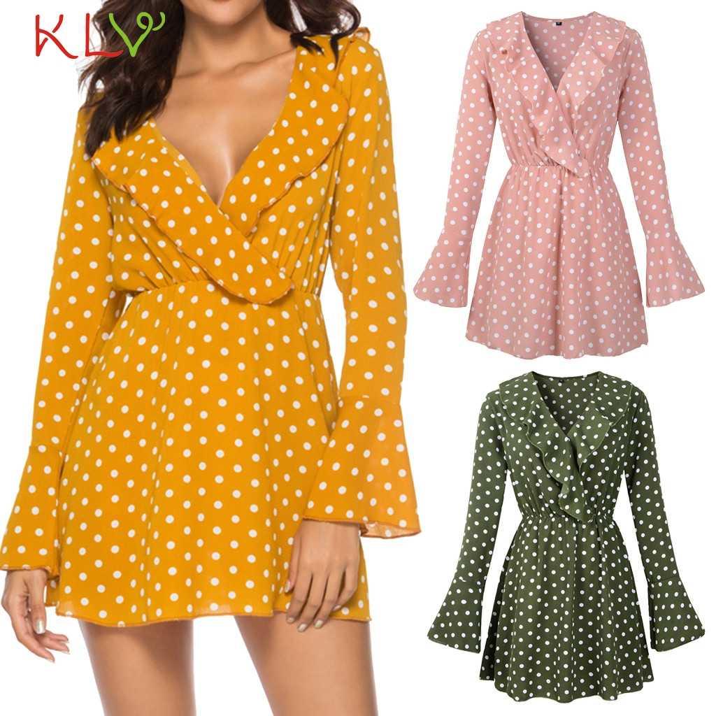 43ae2535bc Dress Women Chiffon Dots Elegant Big Size Vintage Mini Long Sleeve Dress  For Evening Party Night Robe Femme Hiver 2018 18Nov29