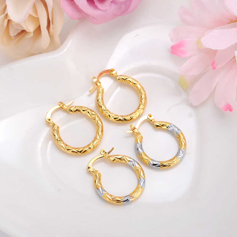 2pairs Earrings Girls Dubai Gold Turkish Egyptian Algeria Indian Moroccan Saudi Gold Earrings Kids Earrings Fashion Jewelry