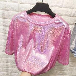 New summer retro style stylish bright silk woman tops shiny loose short sleeve t-shirt sexy club aesthetic harajuku women tshirt
