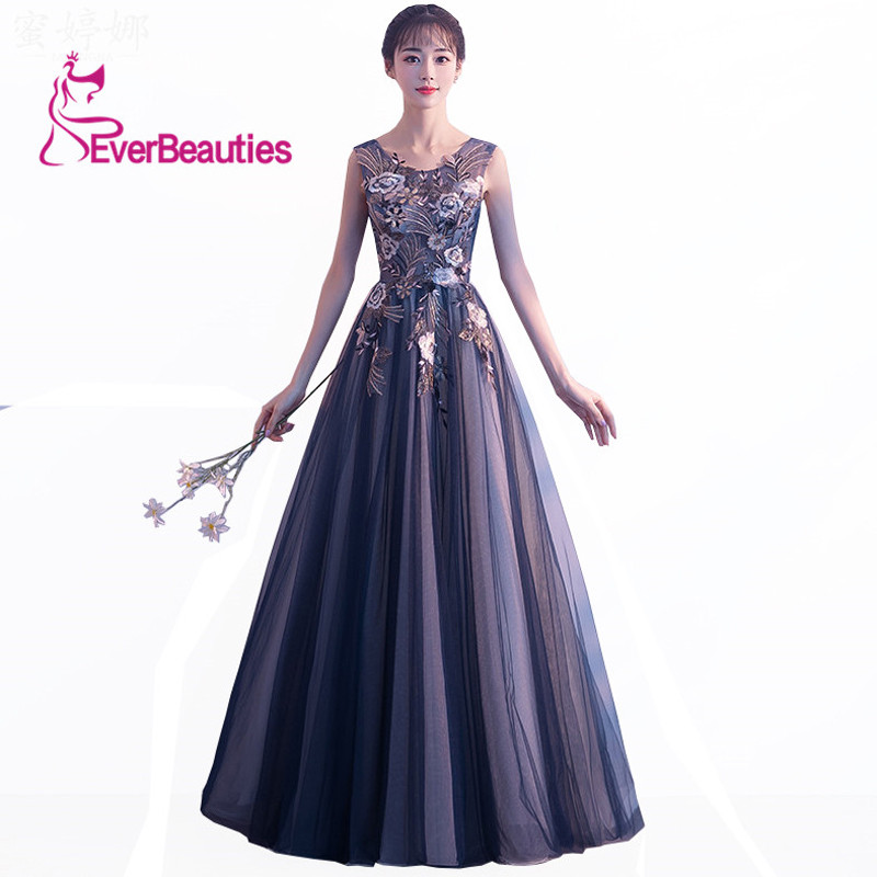 Prom     Dresses   2019 Long Tulle Appliques A-Line Party Gowns   Dress   Elegant Formal Evening   Prom     Dress   Vestido De Festa Longo