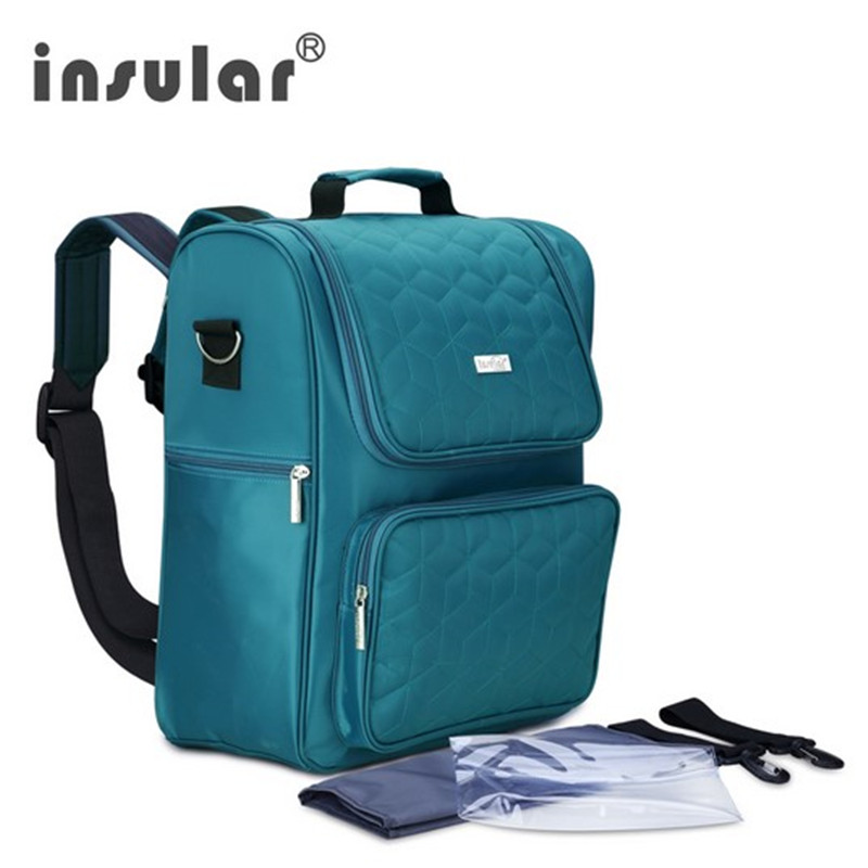 Insular Jualan Hot Fesyen kalis air Nylon Baby Diaper Bag Backpack Multifunctional Mommy Bag Backpack Changing Bag Nappy Bag
