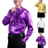 Moda Wiosna Jesień Mężczyźni Koszula Z Długim Rękawem Jednolity Kolor Wzburzyć Tops Vintage Człowiek Night Party Fancy Bluzka H