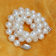 Eternal wedding Women Gift word 925 Sterling silver real Give mom a gift of natural pearl necklace 9-10MM genuine S925 cl
