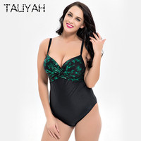 Plus Size One Piece Swimsuit Women Vintage Bathing Suits Plus Size Swimwear Beach Padded Print Push Up Swim Wear bodysuit