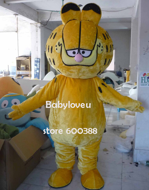 High quality Adult size Cartoon Mascot Costume EVA head Garfield cat mascot cosplay halloween costume christmas Crazy Sale
