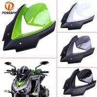 POSSBAY Bicicleta Motorcycle Windshield Scooter Windscreen Double Bubble Windshield Viser Visor For Kawasaki Z1000 2015 2016