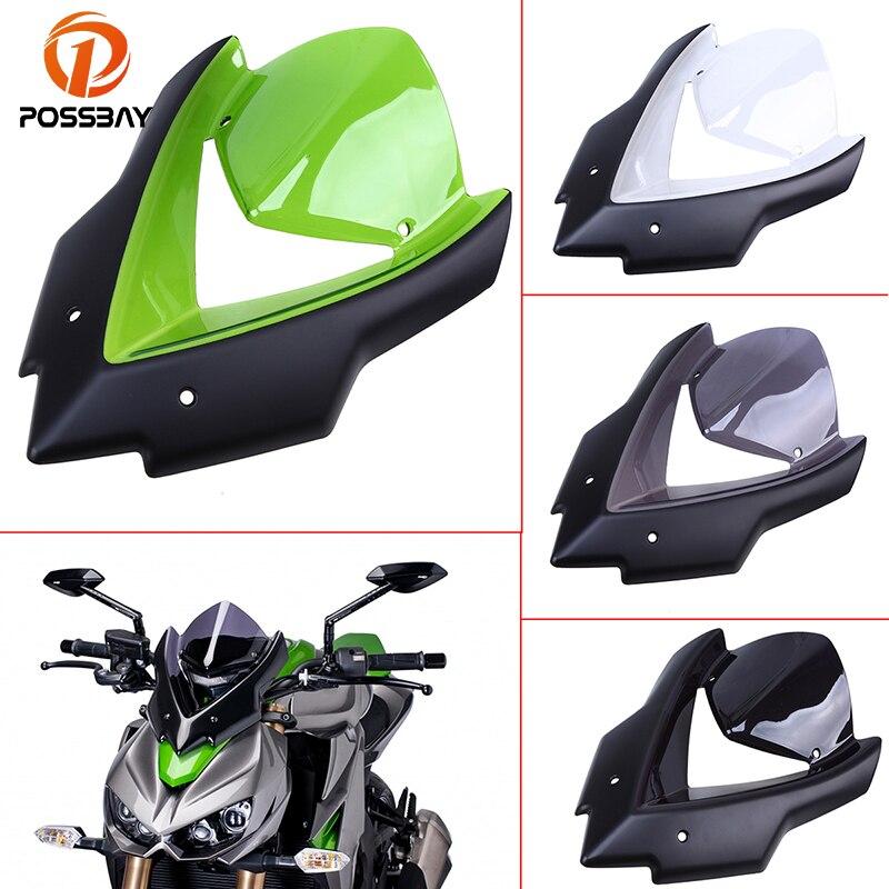 POSSBAY Bicicleta pare-brise moto Scooter pare-brise Double bulle pare-brise Viser visière pour Kawasaki Z1000 2015 2016