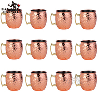 12Pcs 550ml 304 Stainless Steel Drum Type Moscow Mug Hammered Copper Plated Beer Mug Beer Cup