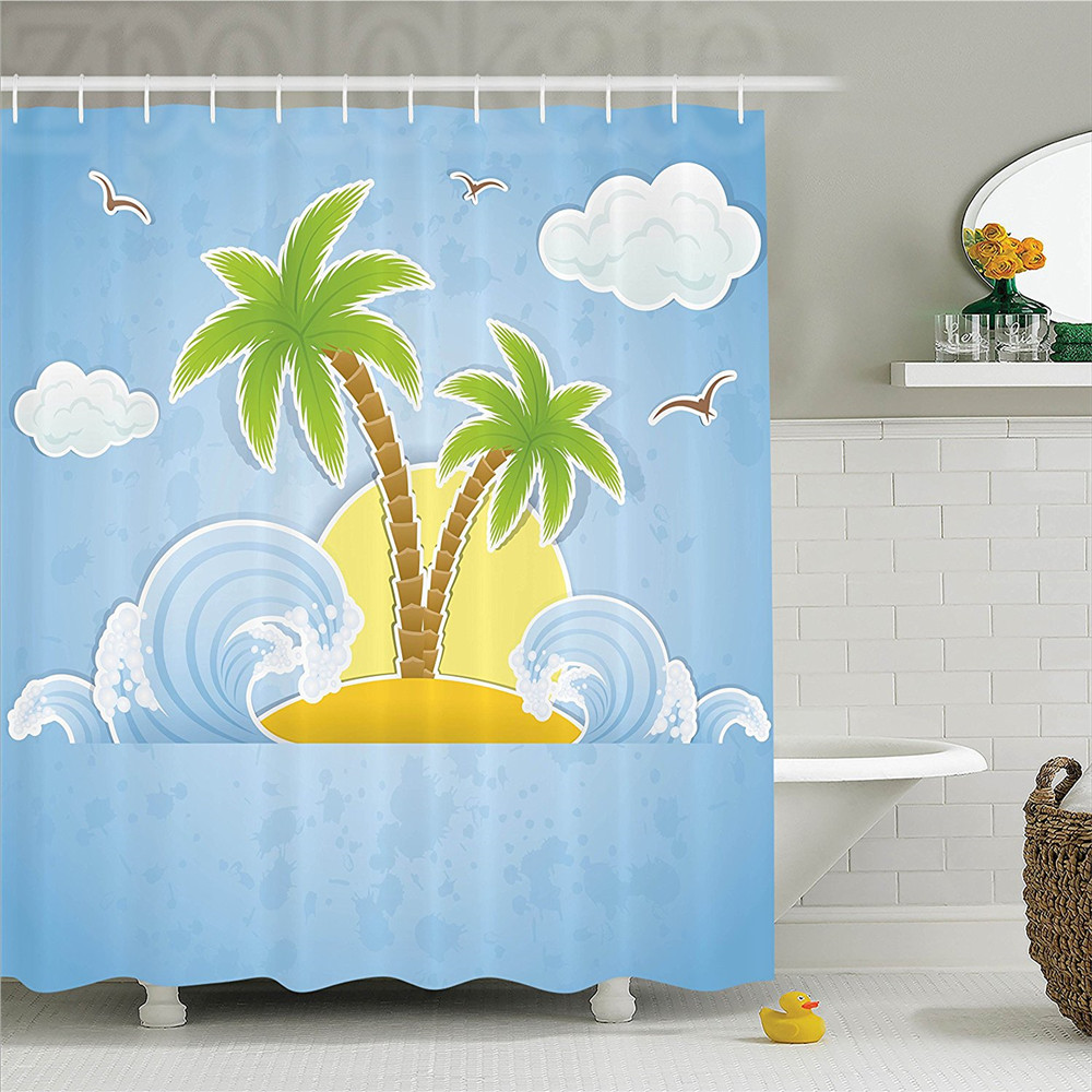 Ocean Illustration of Tropical Island with Palm Trees Waves and Clouds in the Ocean Print Polyester Bathroom Shower Curtain Nav