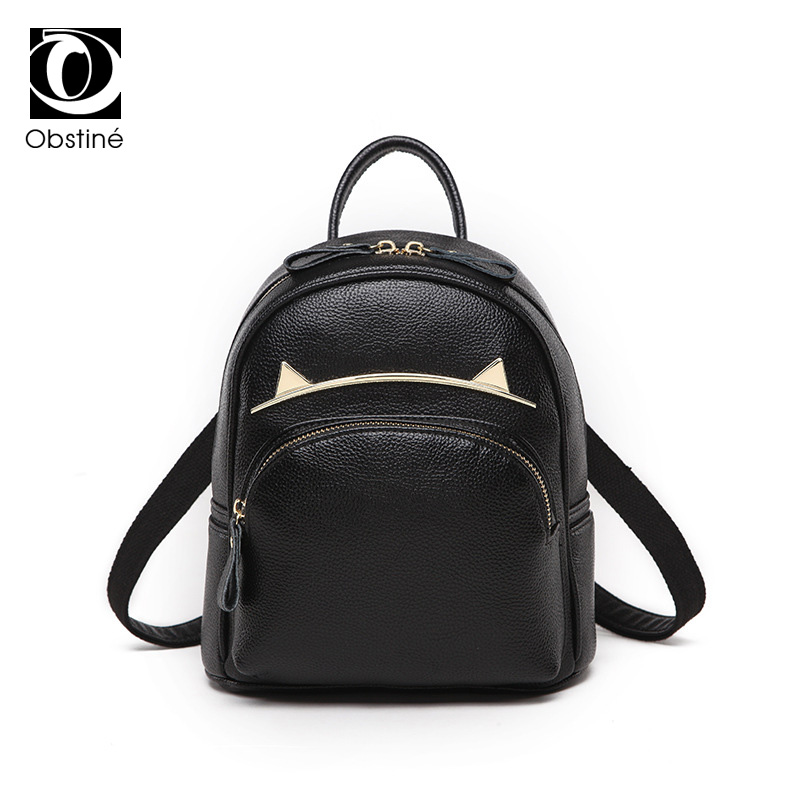 Genuine Cow Leather Small Cute Backpack Female Black Backpacks for Teenage Girls Women Fashion Bagpack with Zipper Shoulder Bags sunny shop candy color cute shoulder bags with bear charm women small messenger bags zipper christmas gifts for teenage girls