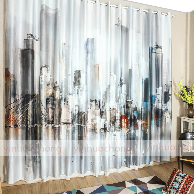 New Blackout Curtains Fabric For Bedroom Ready Made Blinds City Window Kids Room Living