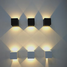 Cube box Led Wall Light modern Aluminum hotel wall sconce exterior outdoor Led Garden Porch Lights Wall Lamp(China)