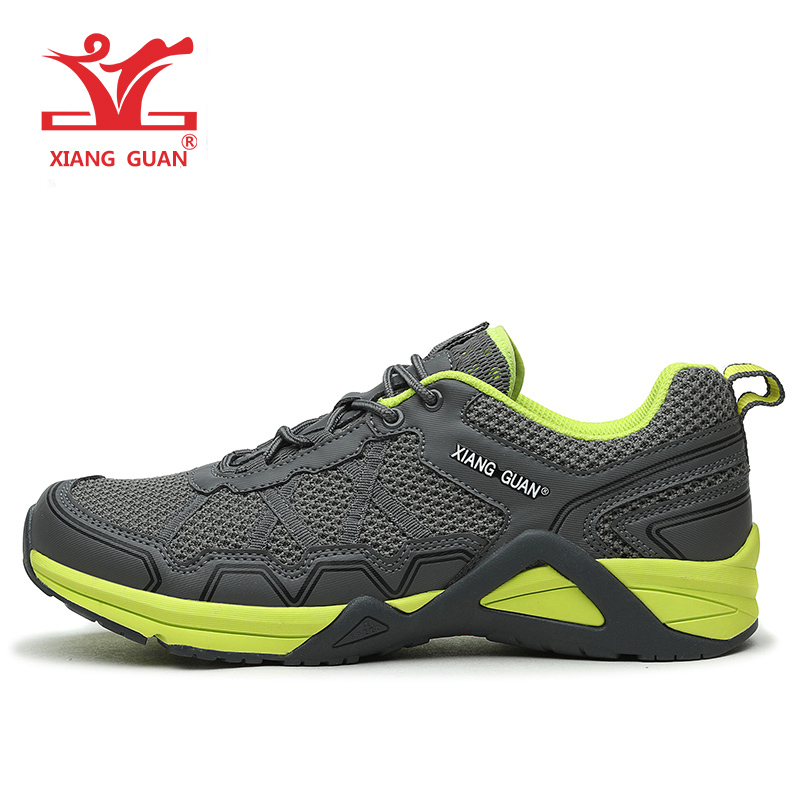 XIANGGUAN Menns Sportsko Running Anti-slip Mesh Breathable Outdoor Athletic Sneaker Cross Country Grå Svart Man Størrelse 39-45