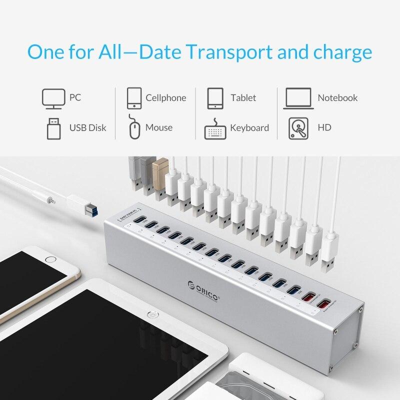 ORICO A3H13P2 SV aluminium 13 Ports Multi USB3.0 répartiteur de moyeu avec 2 Ports de charge 5V2. 4A Super chargeur/5V1A universel argent - 4