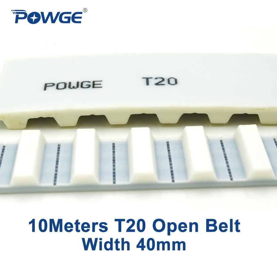 POWGE 10Meters Metric T20 Open synchronous belt T20-40 Width 40mm PU Polyurethane with steel Trapezoid T20 open timing belts