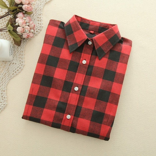Women's Blouse Shirt 2019 Spring New Fashion College Style Casual Cool Student Plaid Shirt Long Sleeve Plus Size Blouses Chemise Women Shirts