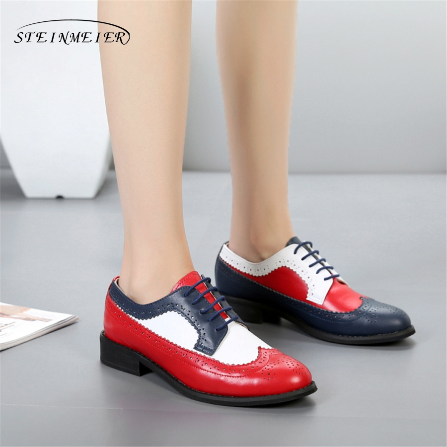 100% Genuine cow leather brogue casual designer vintage lady flats shoes handmade oxford shoes for women red blue white with fur 100% genuine cow leather brogue casual designer vintage lady flats shoes handmade oxford shoes for women with fur brown