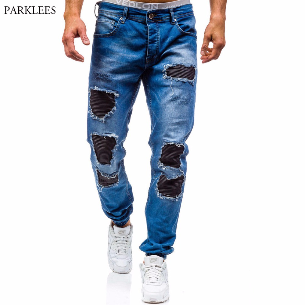 Skinny Jeans Men 2017 Brand Washed Ripped Jeans Men Casual Slim Fit Mens Biker jeans Hip Hop Hipster Zipper Jeans Pants Homme