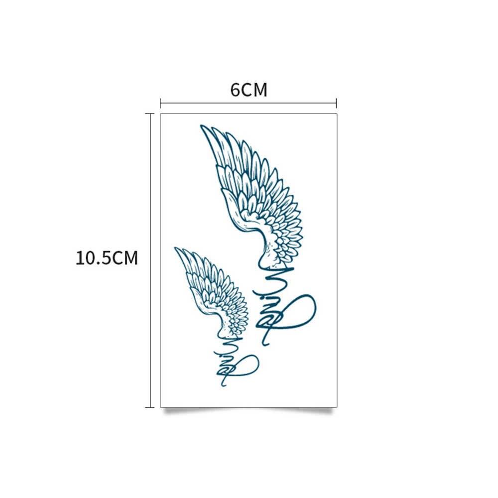 Tatuagem preta Adesivos Removíveis Adesivos de Transferência de Água Falso descartável Waterproof Temporária tatuagens Etiqueta Pássaros Voando Pena