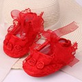 Baby Lace Shoes for Girls Soft Bottom Baby Prewalker Kids First Walker Children Footwear Crib Lace Flowers Toddler Summer Style