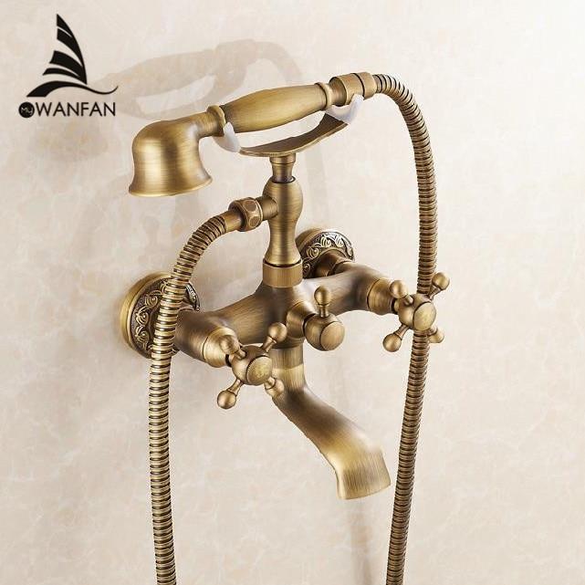 Ванна Смесители Настенные античная латунь щеткой ванна кран с ручным душем Ванная комната ванны и душа смесители Torneiras 6761F