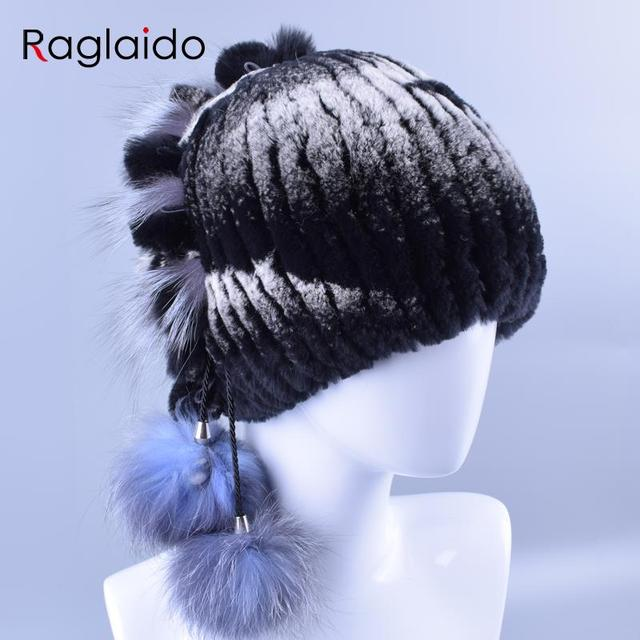 Raglaido Rex Rabbit Fur Winter Hats Princess Caps 2016 New 10Colors Women Snow Skullies Beanies Female Ladies AccessoriesLQ11108