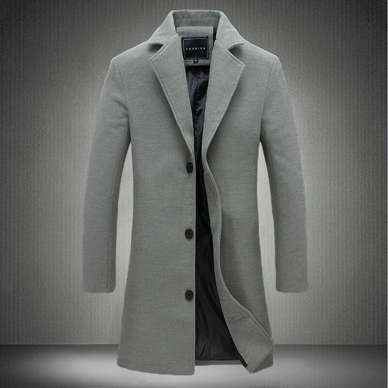 Mens Autumn Winter Wool&Blends Mens Solid Color Casual Business Trench High-end Brand Slim Long Section OverCoat Male Jacket(China)