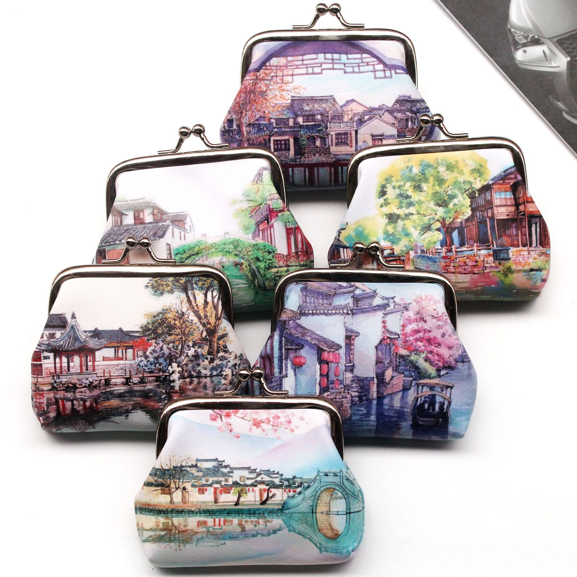 Vintage Cute Women Printing Ancient Town Hasp Coin Wallet Ladies Change Purse Female Clutch Mini Money Bag PU Leather Carteira 5
