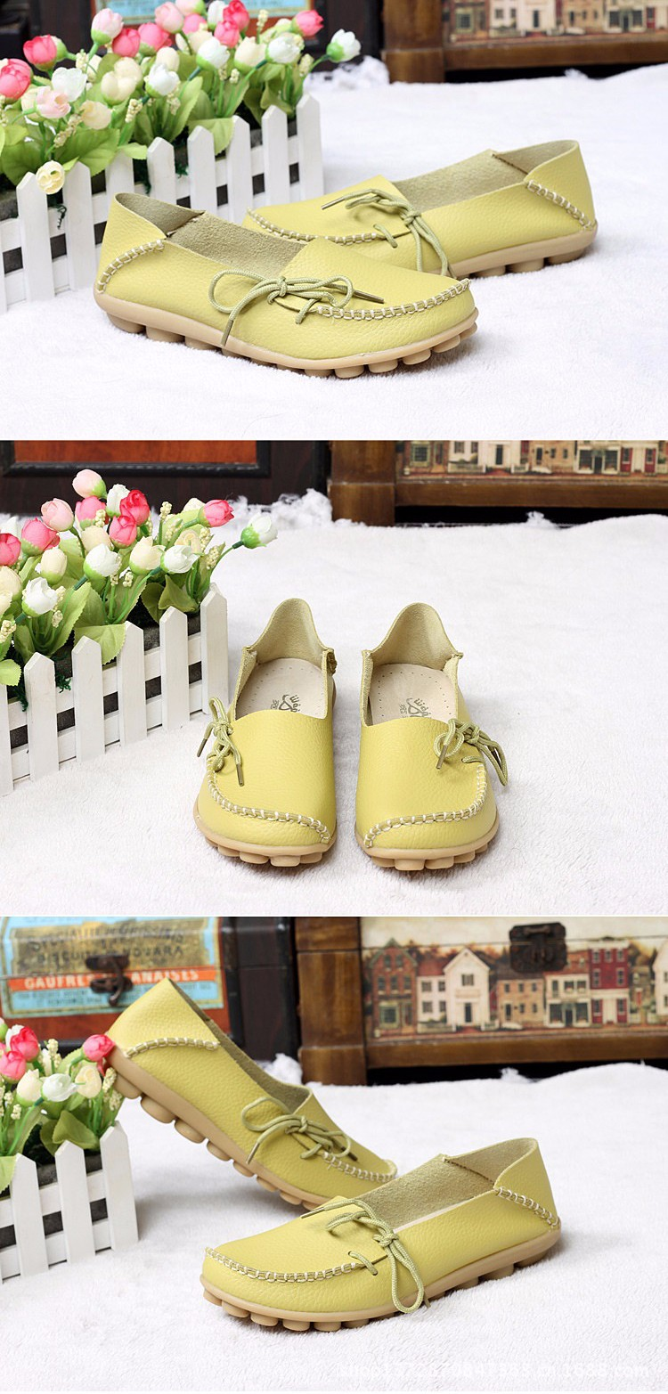 2016 New Real Leather Woman Flats Moccasins Mother Loafers Lacing Female Driving Casual Shoes In 16 Colors Size 34-44 ST179 (10)