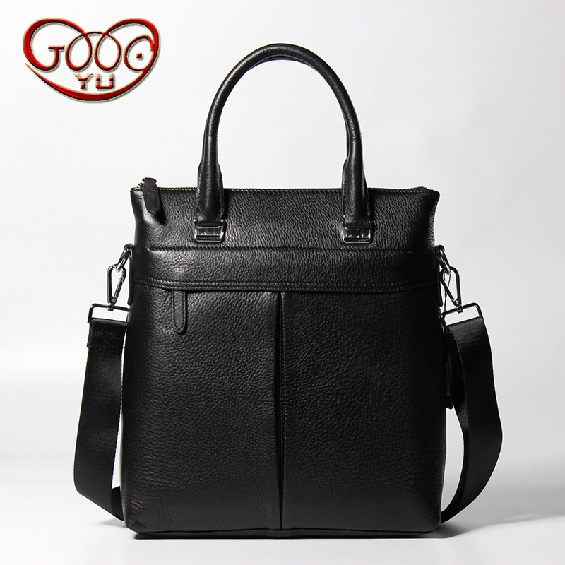 Men's large-capacity leather handbag first layer of leather imported vertical square leisure man bag