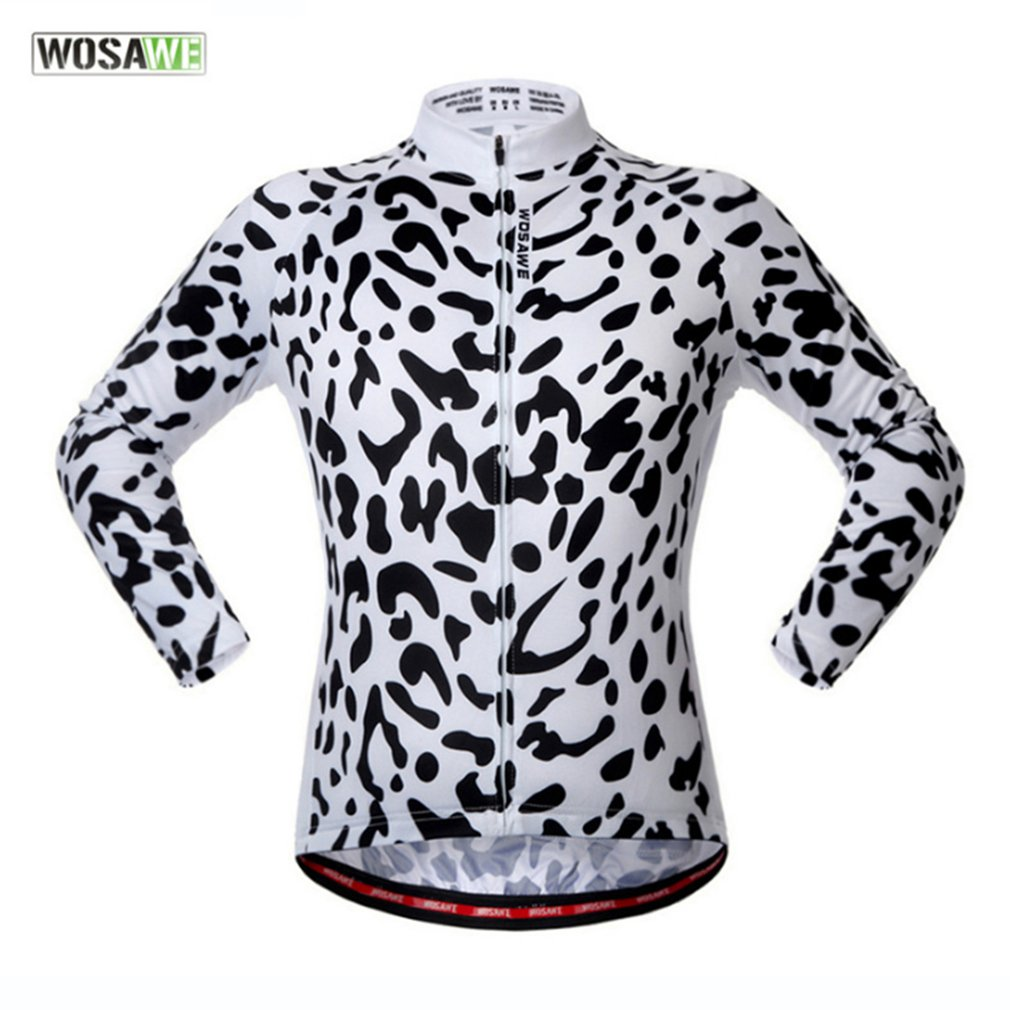 WOSAWE Leopard Pattern Sports Bicycle Clothing Riding Cycling Jerseys Windproof Long Sleeve Cycling Jacket Windbreaker Coat