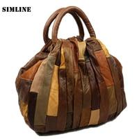 Luxury Vintage Patchwork Casual 100 Genuine Leather Cowhide Women Tote Handbag Messenger Shoulder Crossbody Bag Bags