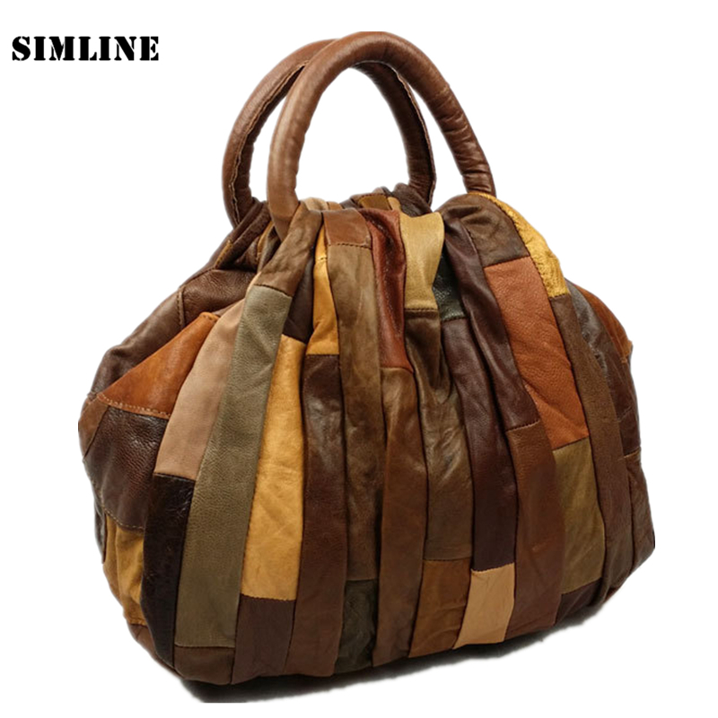 Luxury Vintage Patchwork Casual 100% Genuine Leather Cowhide Women Tote Handbag Messenger Shoulder Crossbody Bag Bags For Ladies esufeir luxury women handbag patchwork genuine leather bags for women shoulder messenger bag ladies crossbody bag designer tote