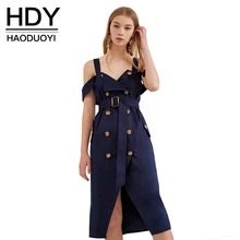 HDY Haoduoyi Women Fashion Solid Dresses Backless Cold Shoulder Halter V-neck Button Down Sashes Wrap