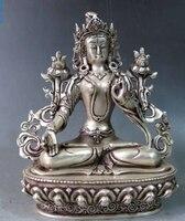 [Старый Ремесло] 8 Китай Серебро Резные Буддизм kwan Инь Белая Тара Будда Скульптура статуя (a0314)