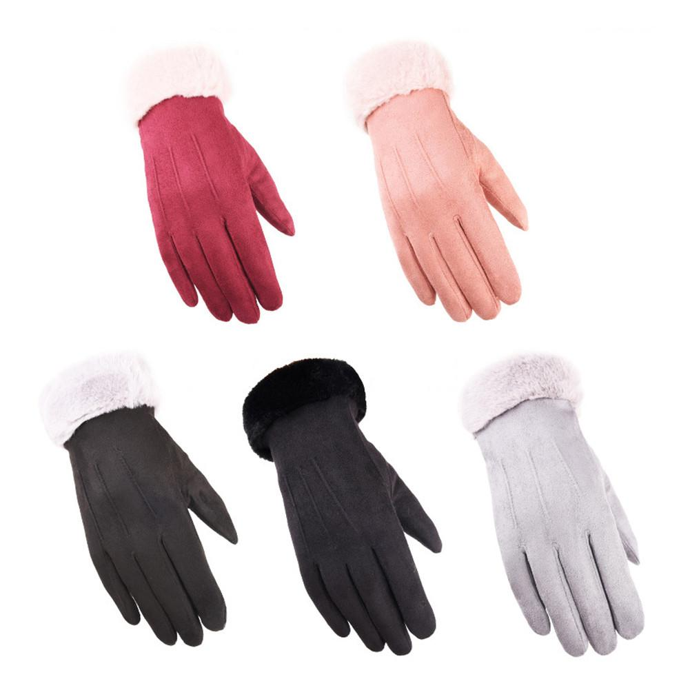 Faux Rex Rabbit Fur Womens Touch Screen Gloves Winter Fashion Bow LadiesWarm Gloves Female Wrist Guantes Gift Plush Thickening