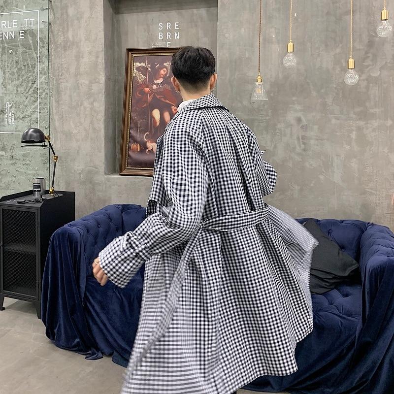 Men Vintage Fashion Plaid   Trench   Coat Japan Harajuku Streetwear Male Loose Long Cardigan Windbreaker Jacket