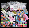 42x Acrylic Nail Art Tips Powder Liquid Brush Glitter Clipper Primer File Set Gel Nail Designs