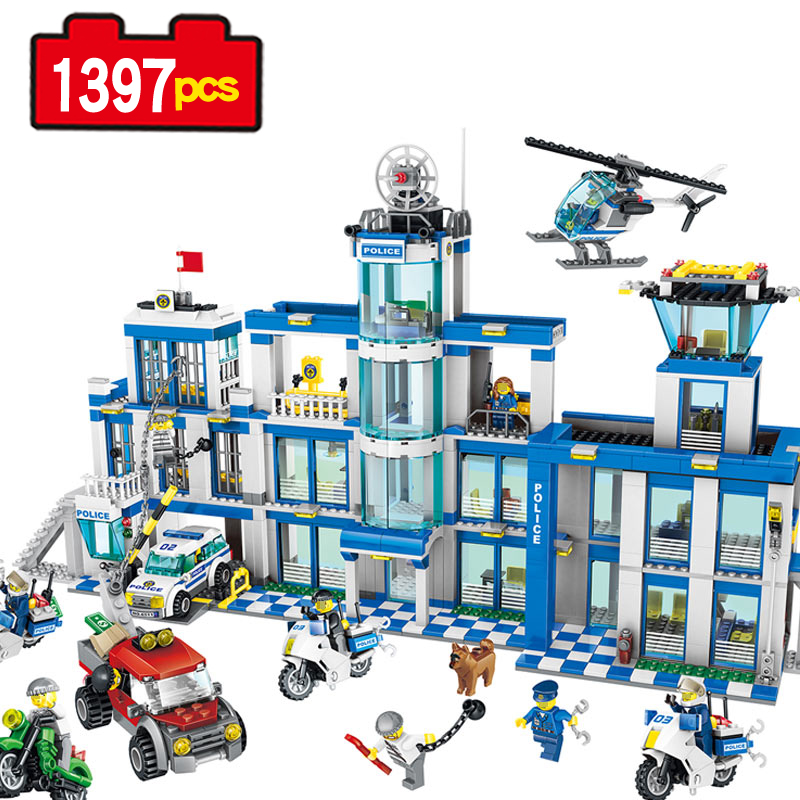 1397pcs City Police Series Police Station Set Assembled DIY Model Kids Toys Building Blocks Bricks Kids Compatible Legoe gift 442pcs police station building blocks bricks educational helicopter toys compatible with legoe city birthday gift toy brinquedos