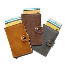 Slymaoyi Antitheft high quality metal men card holder rfid aluminium credit card holder with rfid blocking pu leathe mini wallet