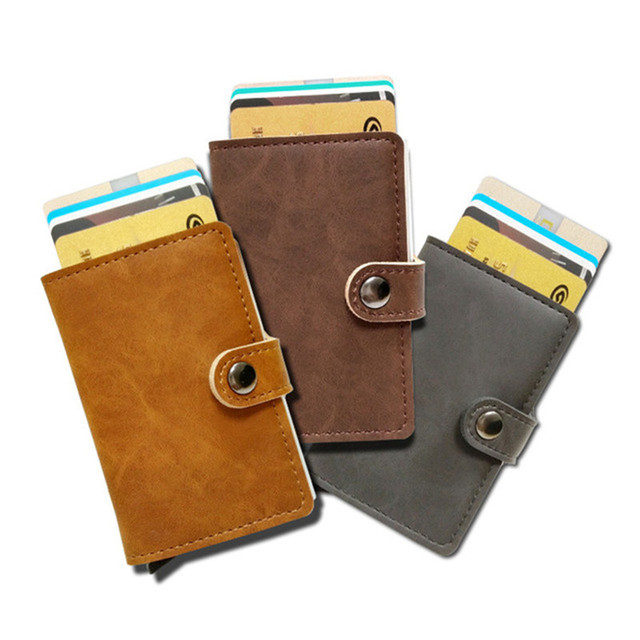 Slim secure wallet – RFID blocking card holder housing – Automatic card popup – Slymaoyi – Single housing – Dark Brown
