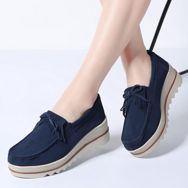 2019New Arrival Spring women flat platform shoes casual sneakers tassel on dress   leather     suede   slip on shoes creepers moccasins
