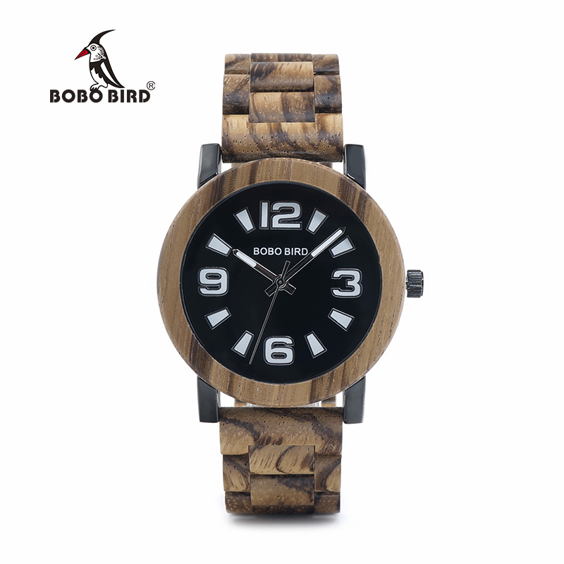 BOBO BIRD Luxury Brand Wooden Band Watches for Men Japan Movement Quartz Wrist Wood Watch Male Relogio Best Mens Gifts bobo bird wh05 brand design classic ebony wooden mens watch full wood strap quartz watches lightweight gift for men in wood box