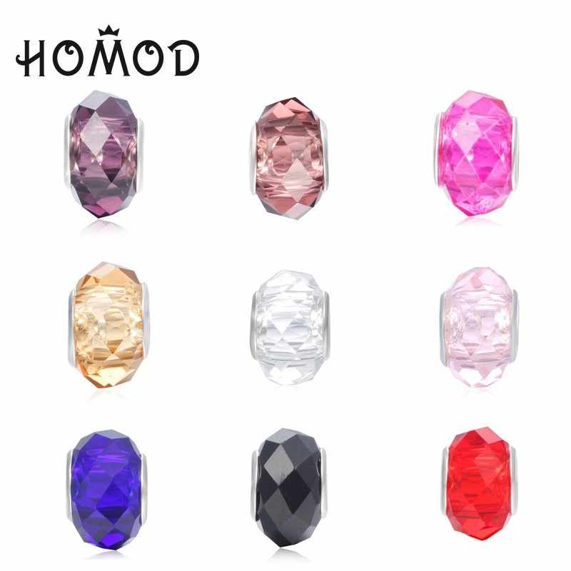 HOMOD 1pc Large Hole 11 Color Crystal Beads Fits Pandora Multi-Facets Section Charms Fits European Brand Charm Bracelet Jewelry