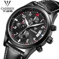 CADISEN 2016 Luxury Brand Leather Watch Sports Multifunction Calendar Analog Display Date Luminous Business Wrist Men