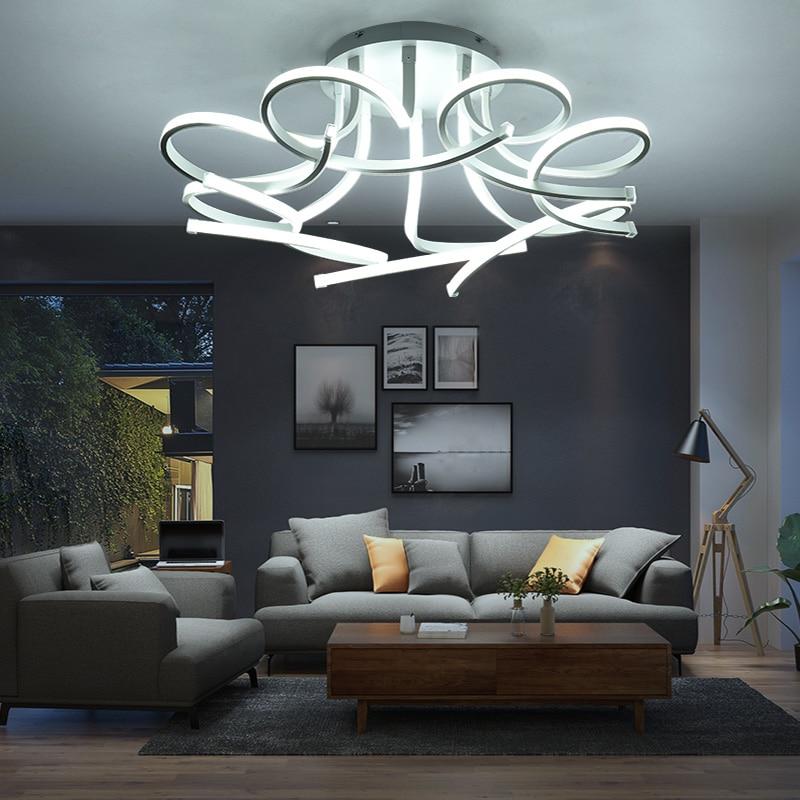 HTB1yR54eUCF3KVjSZJnq6znHFXaU Modern Acrylic Led Ceiling Lights Art Pandant Lamp Led Ceiling Lights For Living Study Room Bedroom Home Decoration 3/6/8 heads