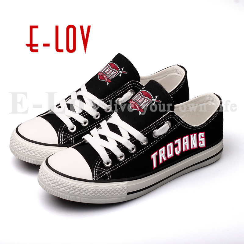 E-LOV New College Print Canvas Shoes Troy Trojans Low Top Lace Black Casual Shoes USA Hot Fashion Flat Shoes Drop Shipping e lov women casual walking shoes graffiti aries horoscope canvas shoe low top flat oxford shoes for couples lovers