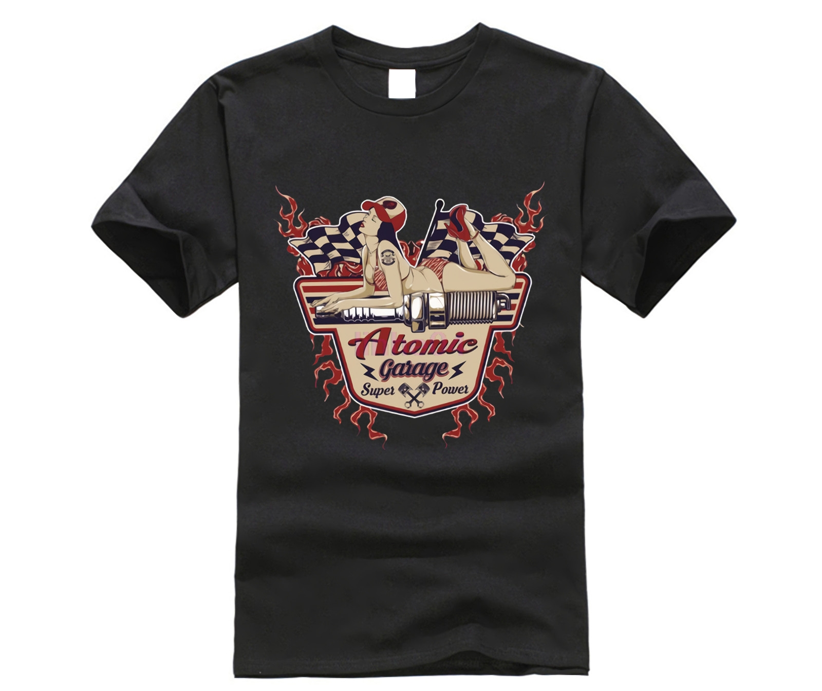2018 Fashion Brand Cotton Tee <font><b>shirts</b></font> Old School Atomic Garage Pin Up Rockabilly US Car Hot Rod <font><b>V8</b></font> <font><b>T</b></font> <font><b>Shirt</b></font> Black Style <font><b>T</b></font>-<font><b>shirt</b></font> image