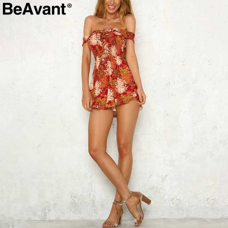 BeAvant hombro sexy mono mameluco de encaje de mujeres con estampado floral de jumsuit verano boho ropa Correa corto